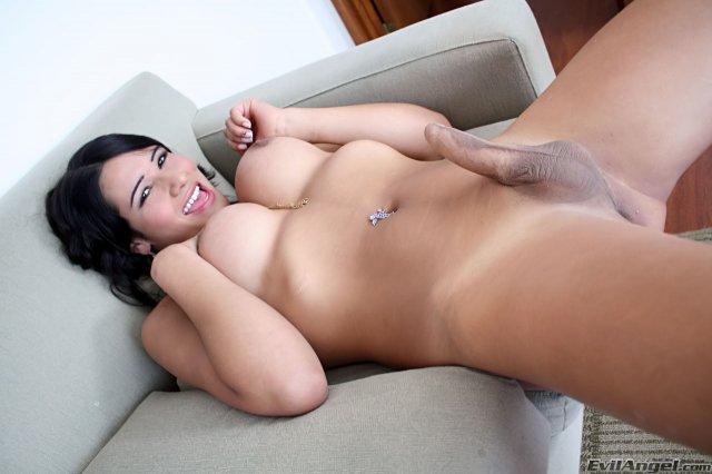 Обнаженный шимейл на диване в развратных позах