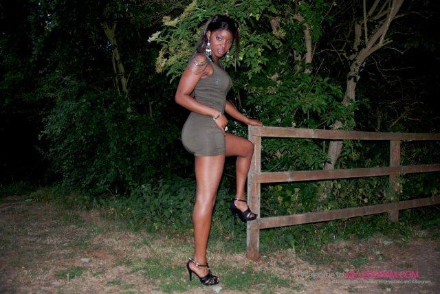Негритянка в лесу отсасывает длинный пенис
