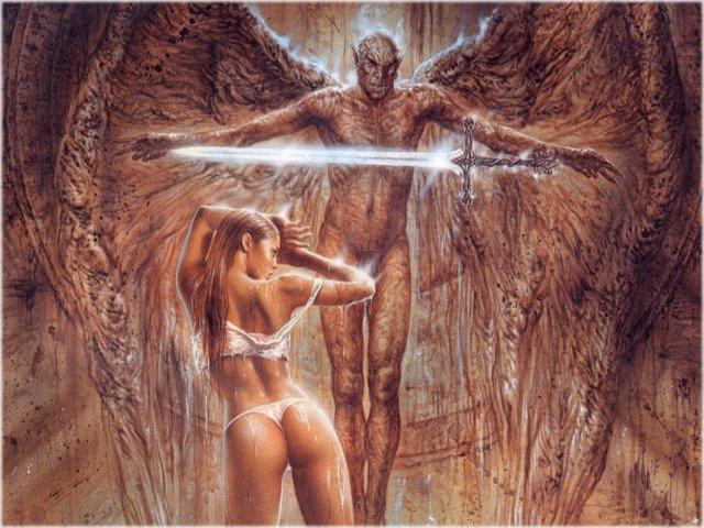 В фэнтези идеальные девушки эротично позируют