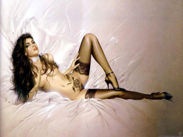 Красивые девы в фэнтези демонстрируют бритые лобки
